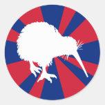 White Kiwi Round Stickers