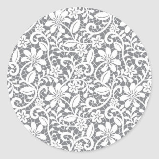 White Lace 1 Classic Round Sticker