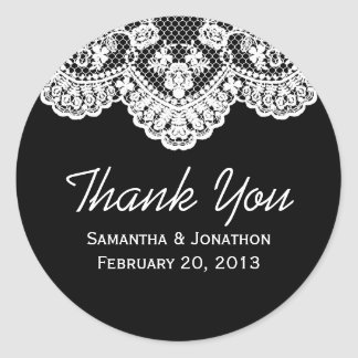 White Lace and Black Wedding Thank You Round Sticker
