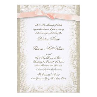 White Lace and Blush Ribbon Invitations