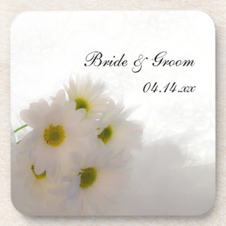 White Lace and Daisies Wedding Coaster