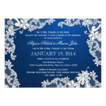 White Lace and Deep Sapphire Wedding Personalised Invitation