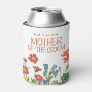 White Lace and Floral #1 Mother of the Groom Can Cooler