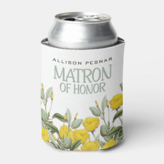 White Lace and Floral #2 Matron of Honor Can Cooler