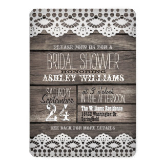 White Lace and Rustic Brown Wood Bridal Shower 13 Cm X 18 Cm Invitation Card
