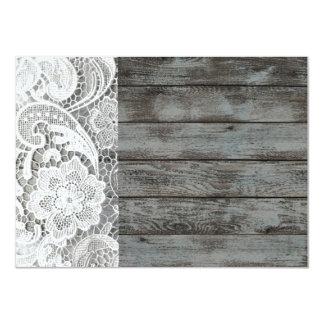 white lace barnwood vintage birthday party 11 cm x 16 cm invitation card