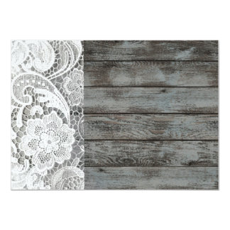 white lace barnwood vintage birthday party card