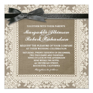 White lace black bow & burlap wedding invitations