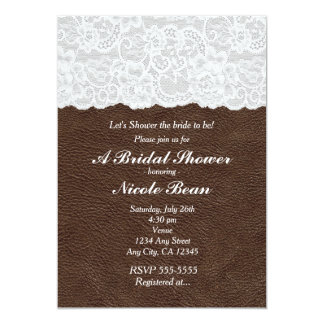 White Lace & Brown Leather Rustic Bridal Shower 13 Cm X 18 Cm Invitation Card