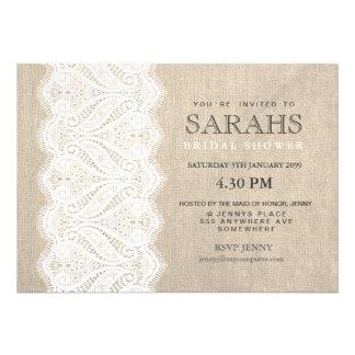 White Lace Burlap Bridal Shower Party Invite