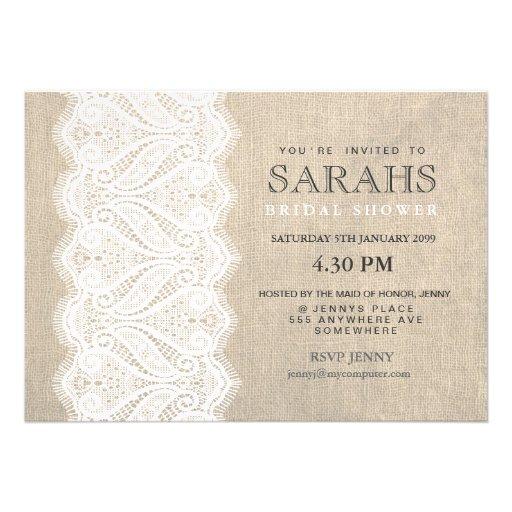 White Lace & Burlap Bridal Shower Party Invite