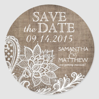 White Lace Burlap Modern Goth Save the Date Label Round Sticker