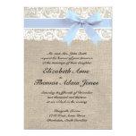 White Lace Burlap Wedding Invitation- Baby Blue