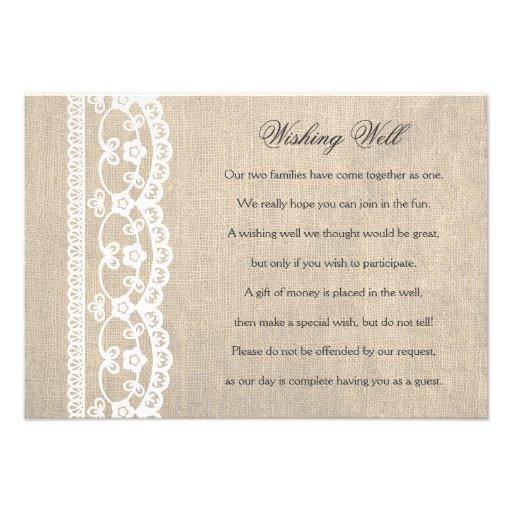White Lace & Burlap Wishing Well Wedding Card