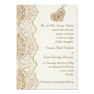 White lace & cardboard heart on burlap wedding card