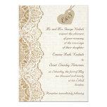 White lace & cardboard heart on burlap wedding custom announcements