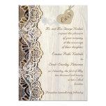 White lace & cardboard heart on wood wedding