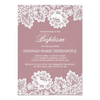 White Lace Custom Color Baptism Invitation