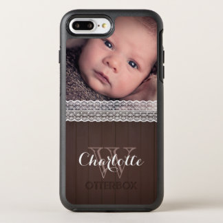 White Lace & Dark Wood | Custom Photo & Name OtterBox Symmetry iPhone 8 Plus/7 Plus Case