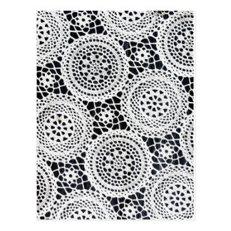 White Lace design Graphics Fabric round modern des Postcard