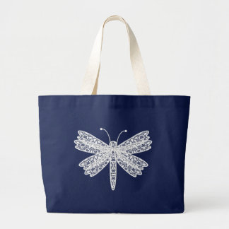 white lace dragonfly totebag large tote bag