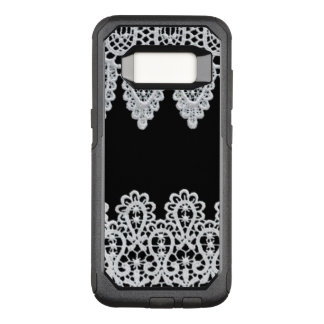 White lace forms a delicate border against black OtterBox commuter samsung galaxy s8 case