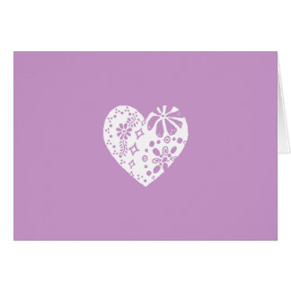 White lace heart (customizable background color) greeting card