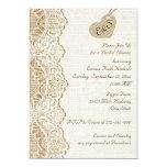 White lace & heart on burlap wedding bridal shower personalised invites