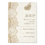 White lace & heart on burlap wedding RSVP Invite