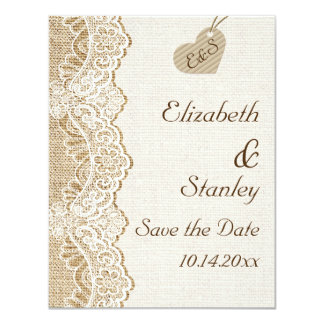 White lace & heart on burlap wedding Save the Date 11 Cm X 14 Cm Invitation Card