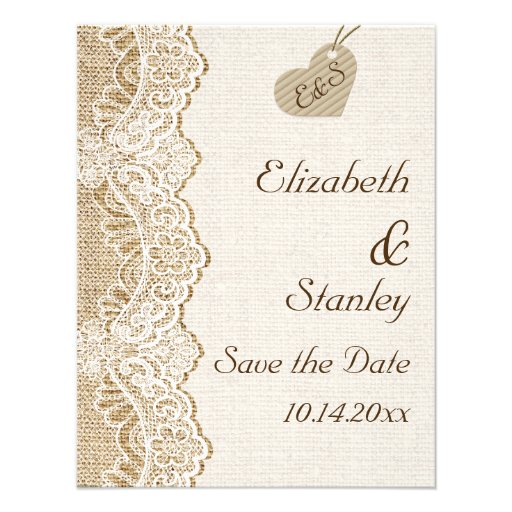 White lace & heart on burlap wedding Save the Date Invitations