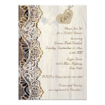 White lace & heart on wood wedding bridal shower custom invitation