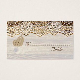 White lace & heart on wood wedding place card