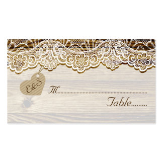 White lace & heart on wood wedding place card pack of standard business cards