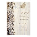White lace & heart on wood wedding RSVP Personalised Announcements