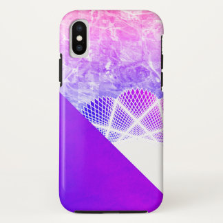 White Lace Lavender Purple Modern Marble iPhone X Case