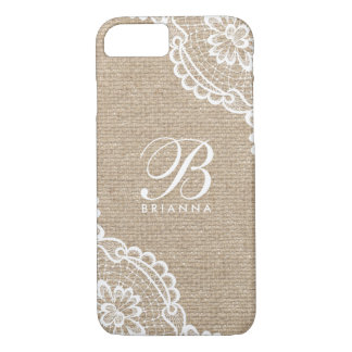 White Lace Monogram Burlap iPhone 8/7 Case