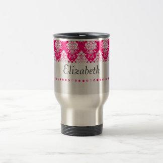 White Lace Monogram Template Travel Mug