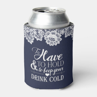 White Lace Navy Blue Elegant Monogram Wedding Can Cooler