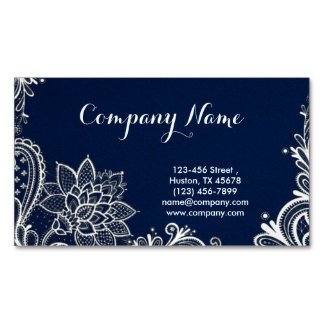 white lace navy blue swirls fashion magnetic business cards