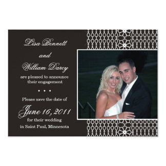 White Lace on Black -Save the Date invites