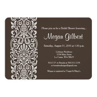 White Lace on Brown Bridal Shower 13 Cm X 18 Cm Invitation Card