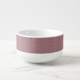 White Lace on Red Soup Bowl With Handle