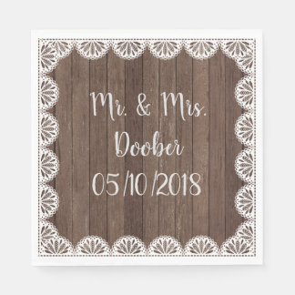White Lace On Wood Planks Paper Napkins Disposable Serviette