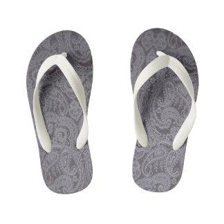 white lace pattern kid's flip flops thongs