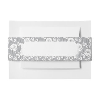 White lace pattern on gray background invitation belly band
