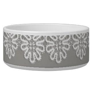 White Lace Pet Bowl