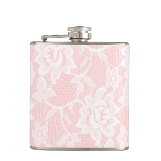 White Lace Pink Hip Flask