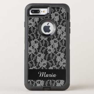 White lace roses on black OtterBox defender iPhone 8 plus/7 plus case