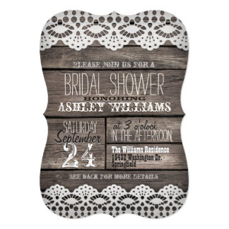 White Lace; Rustic Brown Wood Bridal Shower 13 Cm X 18 Cm Invitation Card